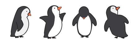 Happy penguin characters in different poses set Illustration