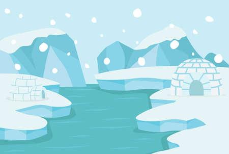 North pole Arctic landscape with ice igloo background Illustration