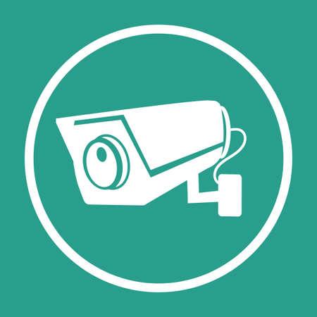 CCTV Security camera flat vector icon sign