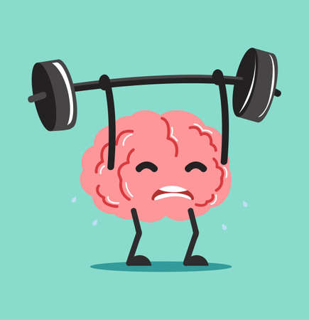 Funny brain Lifting Weights over head vector