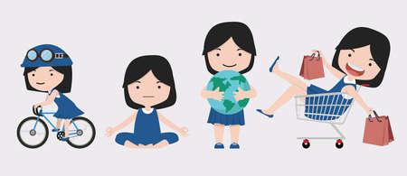 cute girl character illustration set cartoon