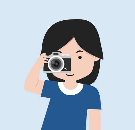 Little girl is holding a camera and taking a photo cartoon