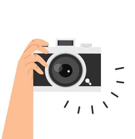 Hands Holding Camera Flat Design vector