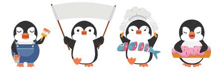 Cute penguin cartoon characters set