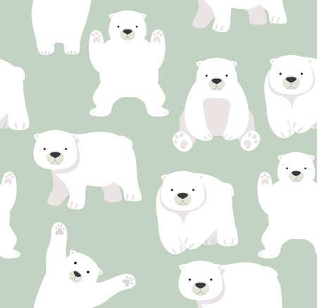 Cute Polar bear funny seamless pattern background