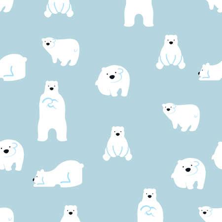 cute polar bears seamless pattern background Illustration
