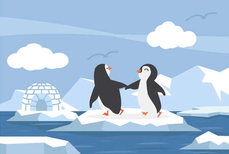 North pole Arctic in the ocean with couple penguins cartppm Illustration