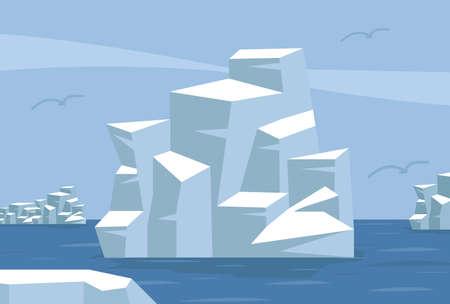 North pole Arctic with iceberg background Illustration
