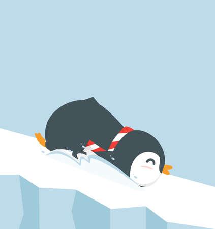 penguin cartoon  slide on ice vector