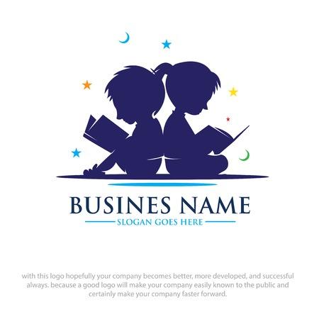 Kinder lesen Buchträume Logo Designs Logo