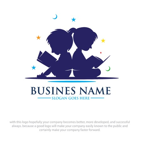 los niños leen libros sueños diseños de logotipos Logos