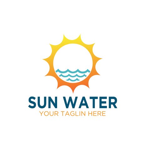 sun water sources electric logo designs