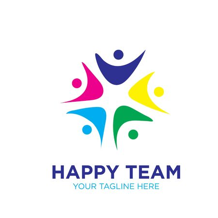 happy team logo designs icon modern Illustration