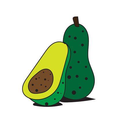 fresh avocados fruits logo designs Illustration