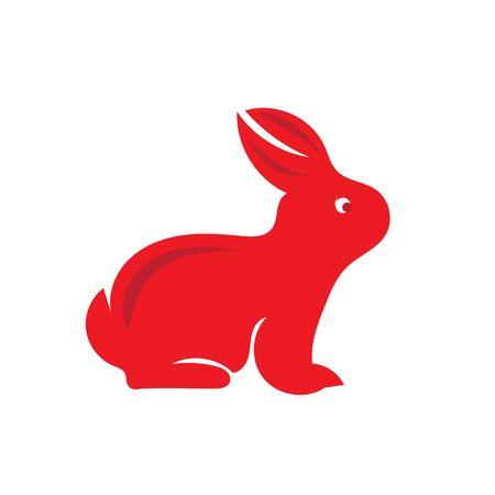 Bunny icon logo designs red Illustration