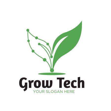 green tech natural logo designs