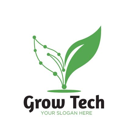 green tech natural logo designs