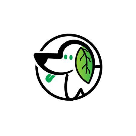 leaf dog animals pet logo designs