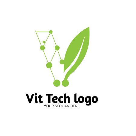 green tech natural logo designs Stock Vector - 136865859