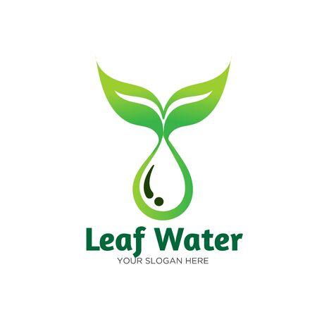 leaf water fresh logo designs  イラスト・ベクター素材