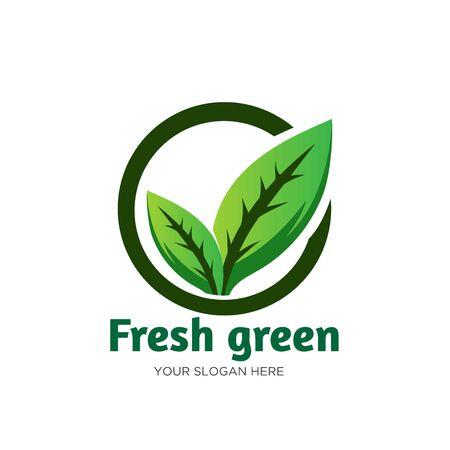 fresh green leaf logo designs care