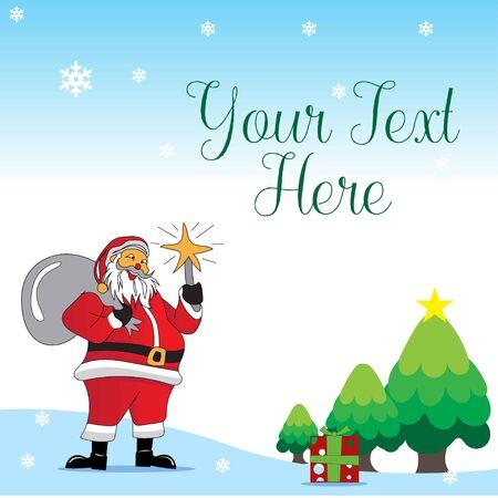 SANTA claus shares gifts on christmas  イラスト・ベクター素材