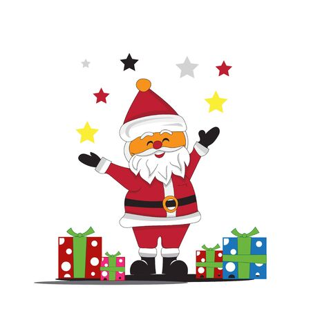SANTA claus shares gifts on christmas Stock Vector - 135027747