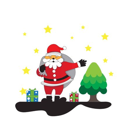 SANTA claus shares gifts on christmas Stock Illustratie