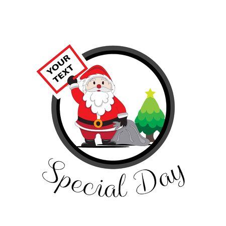 santa claus greeting board on christmas