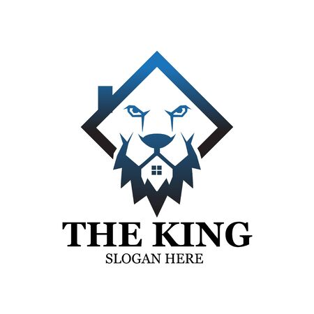 king lion construction logo designs Illustration
