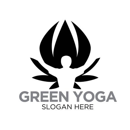 green yoga leaf nature logo designs