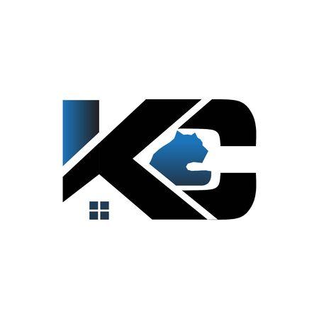 k c construction building logo designs