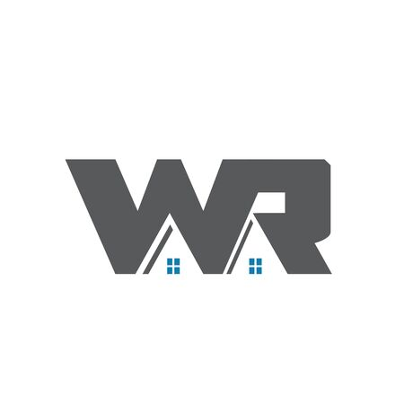 w r home construction logo building and real estate Illustration