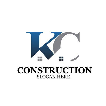 k c construction logo designs simple