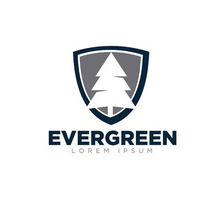 evergreen business up and shield logo designs modern