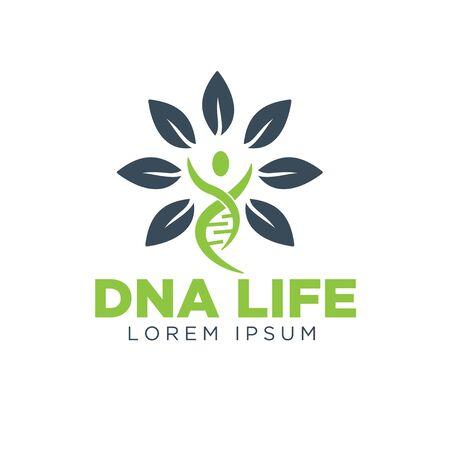 dna life leaf logo simple modern