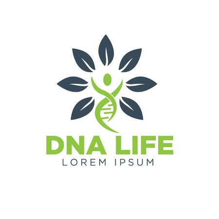 dna life leaf logo simple modern