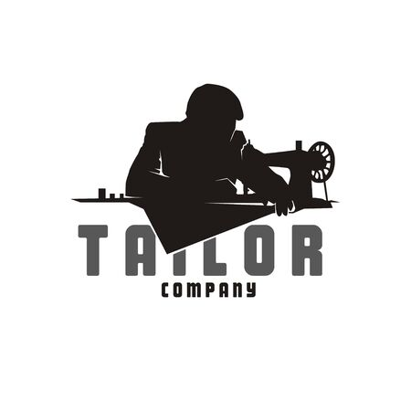 Casual Man with Sewing Machine for Vintage Tailor Logo design