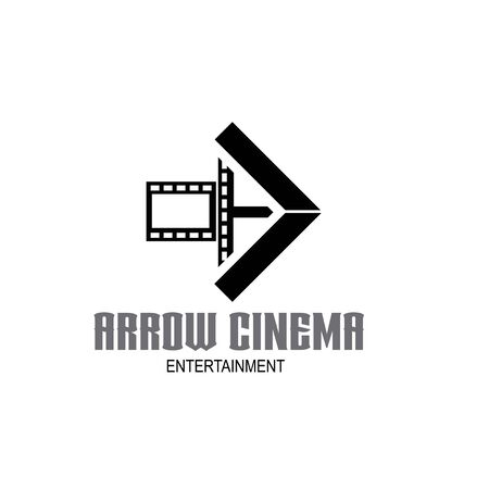 Arrow and Film Stripes for Movie Cinema Productions logo design Stock Illustratie