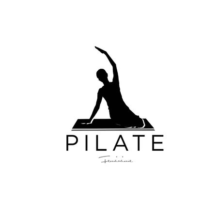 Sitting Pilates Woman Silhouette logo design illustration icon simple