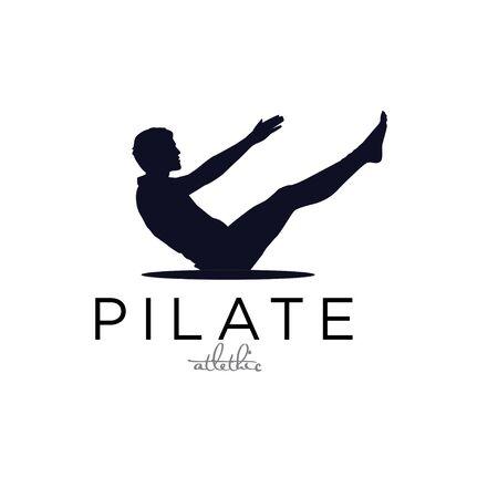 Sitting Pilates men Silhouette logo design simple black illustration  イラスト・ベクター素材