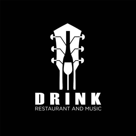 Drink Guitar Live Music Concert on Bar Cafe Restaurant Pub Nightclub logo design