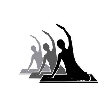 Sitting Pilates Woman Silhouette logo design illustration icon simple Stock Vector - 150137824