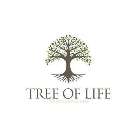 Tree of Life, oak banyan leaf and root seal emblem stamp logo design inspiration Stock Vector - 150137826