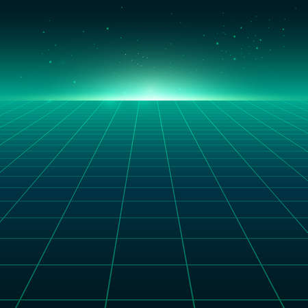 Abstract perspective green grid. Retro futuristic neon line on dark background, 80s design perspective distorted plane landscape composed of crossed neon lights and laser beams. Vector illustration