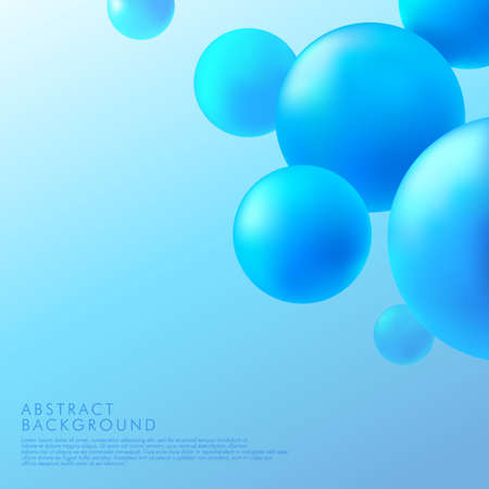 Abstract background with dynamic 3d spheres. Pastel blue bubbles. Vector illustration of glossy balls. Modern trendy banner or poster design. Vector illustration