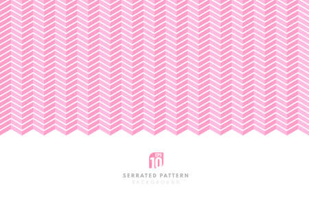 Abstract white color serrated lines pattern on pink background with copy space. Design element for prints, web, template and textile pattern. Vector illustration Иллюстрация