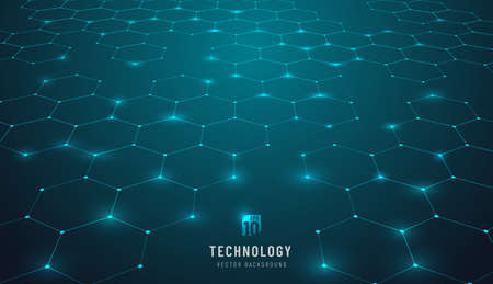 Abstract blue green connection hexagon technology cyberspace background. Modern innovation speed communication technology business background. futuristic tech design. Vector illustration. 矢量图像