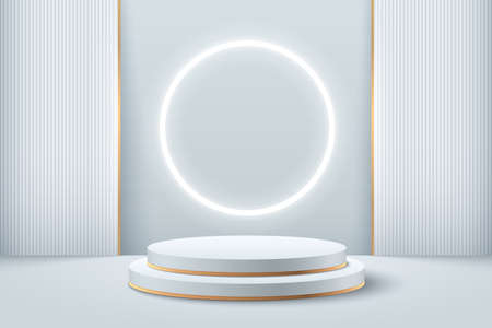 Abstract round display for product on website in modern. Futuristic background rendering with podium and minimal white & gold texture wall scene, 3d rendering geometric shape silver color. Vector Vettoriali