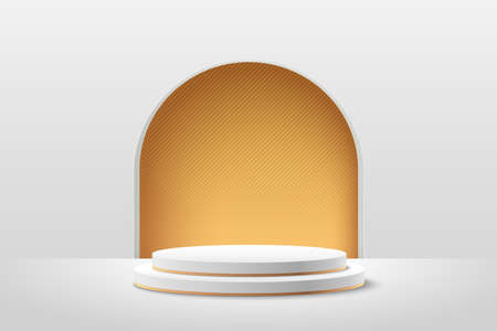 Abstract round display for product on website in modern. Background rendering with podium and minimal white & gold texture wall scene, Luxury 3d rendering geometric shape white color. Vector